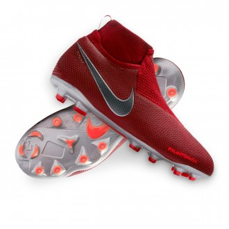 Bota  Nike Phantom Vision Elite DF MG Niño Team red-Metallic dark grey-Bright crimson