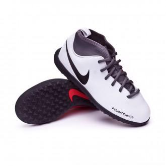 Football Boot  Nike Kids Phantom Vision Club DF Turf  Pure platinum-Black-Light crimson-Dark grey