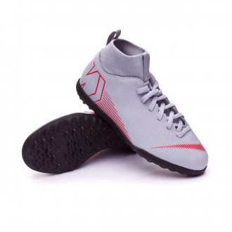 Football Boot  Nike Kids Mercurial SuperflyX VI Club Turf  Wolf grey-Light crimson-Black