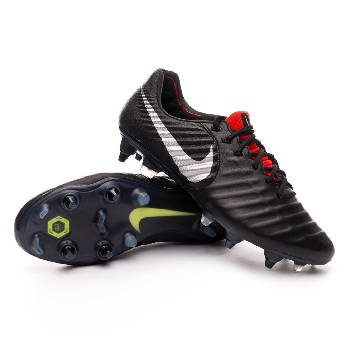 4bdfcf2af1e2 Football Boots Nike Tiempo Legend VII Elite Anti-Clog SG-Pro Black-Metallic  silver-Light crimson - Football store Fútbol Emotion