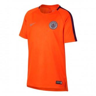 Camiseta  Nike Dry Manchester City FC Squad 2018-2019 Niño Safety orange-Night purple