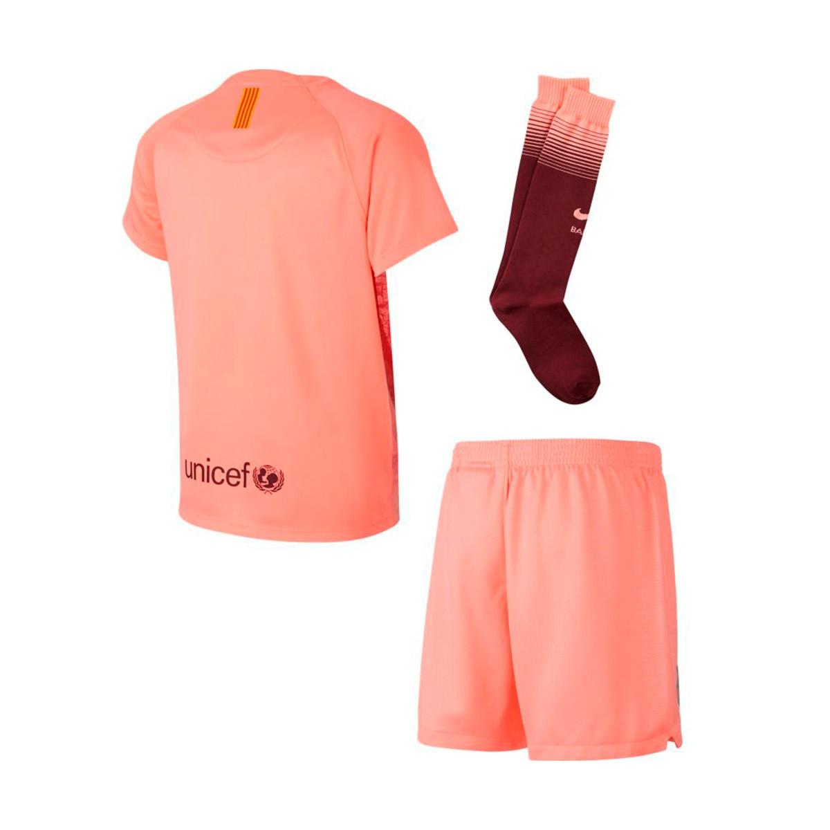2b438162bc624 Kit Nike Kids FC Barcelona 2018-2019 Third Light atomic pink-Silver ...