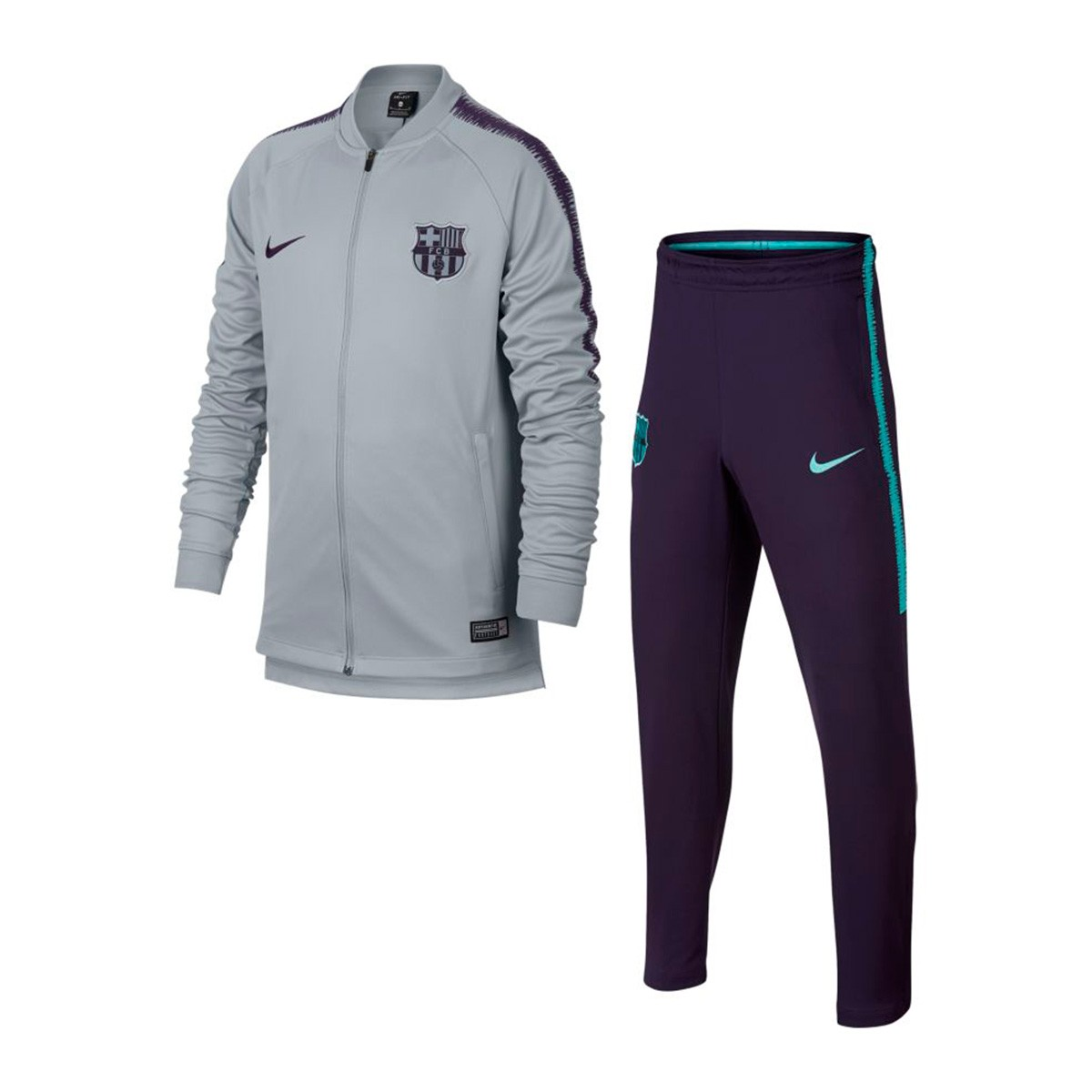 5b6e88fead5e28 Tuta Nike Dry FC Barcellona Squad 2018-2019 Junior Wolf grey-Purple dynasty  - Negozio di calcio Fútbol Emotion