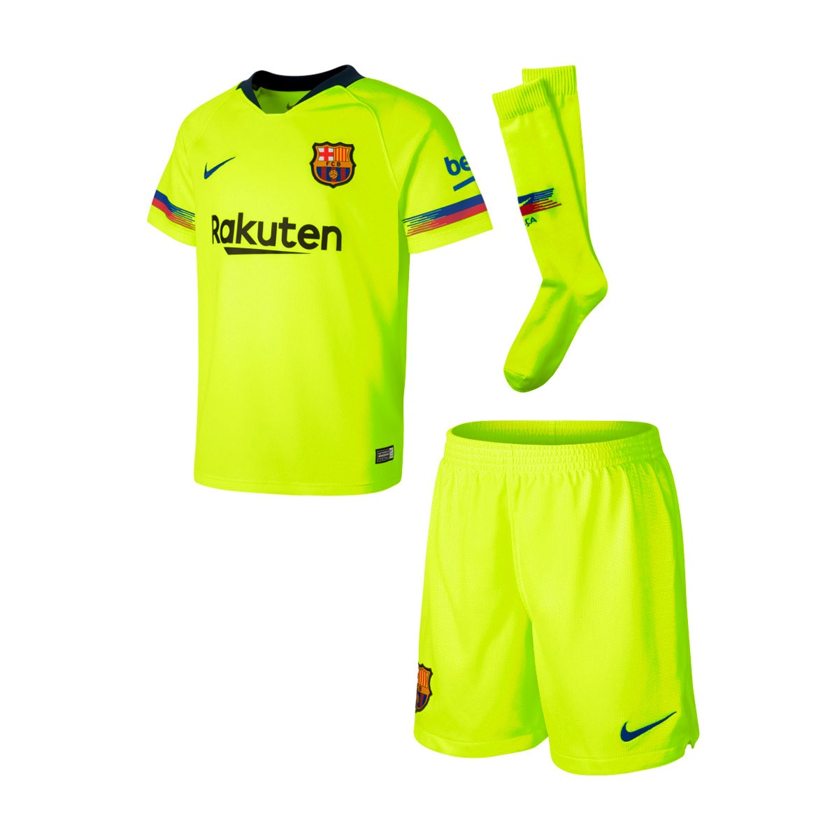 9f4a00fe8 Conjunto Nike FC Barcelona Segunda Equipación 2018-2019 Niño Volt-Deep  royal blue - Tienda de fútbol Fútbol Emotion