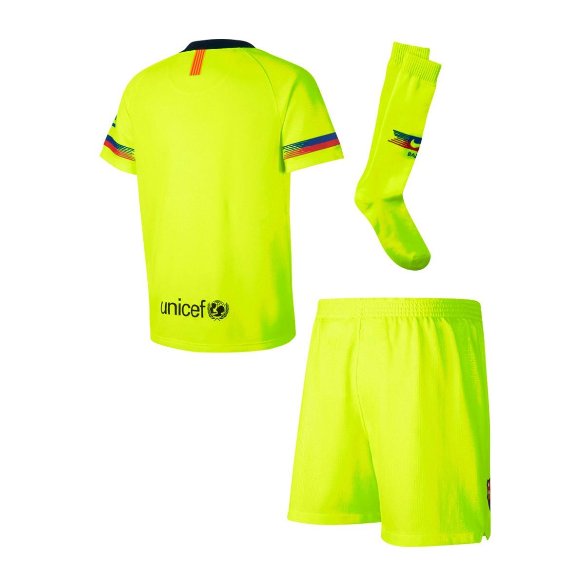 f80f8a3215 Kit Nike Kids FC Barcelona 2018-2019 Away Volt-Deep royal blue - Football  store Fútbol Emotion