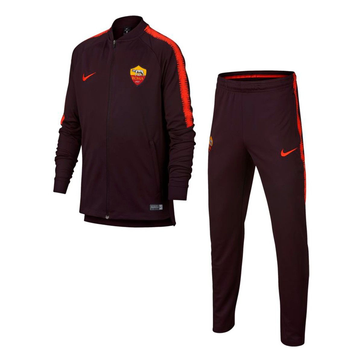 Tracksuit Nike Kids AS Roma Squad 2018-2019 Burgundy-Habanero red ... d5ff998c8311d