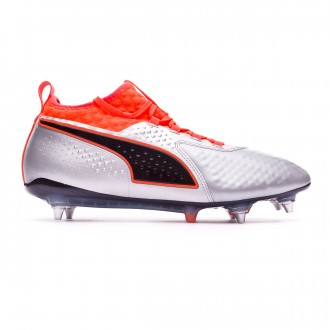 Chuteira Puma One 2 Piel SG Mista Puma silver-Shocking orange-Puma black