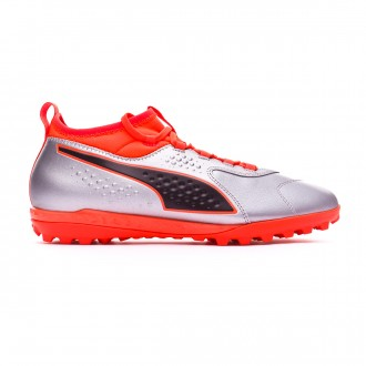 Football Boot  Puma One 3 Leather TT Puma silver-Shocking orange-Puma black