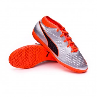 Futsal Boot  Puma Skin One 4 IT Puma silver-Shocking orange-Puma black