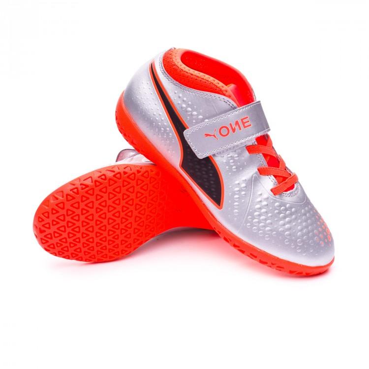 25c600a6d Futsal Boot Puma Kids One 4 IT Velcro Puma silver-Shocking orange ...