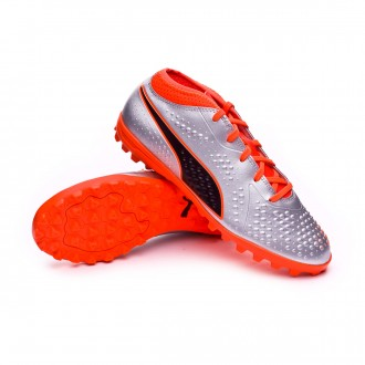 Football Boot  Puma Kids One 4 Turf Puma silver-Shocking orange-Puma black