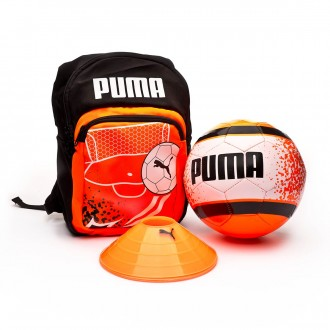 Conjunto  Puma Kids Football Backpack Set Shocking Orange-Puma Black