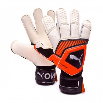 Glove  Puma One Grip 1 RC Puma white-Shocking orange-Puma black-Silver