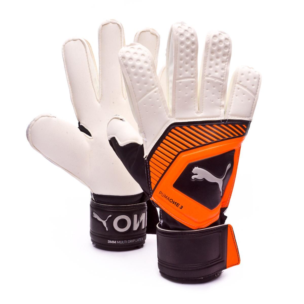b2a860a24ad8 Glove Puma One Grip 3 RC Puma white-Shocking orange-Puma black-Silver -  Football store Fútbol Emotion