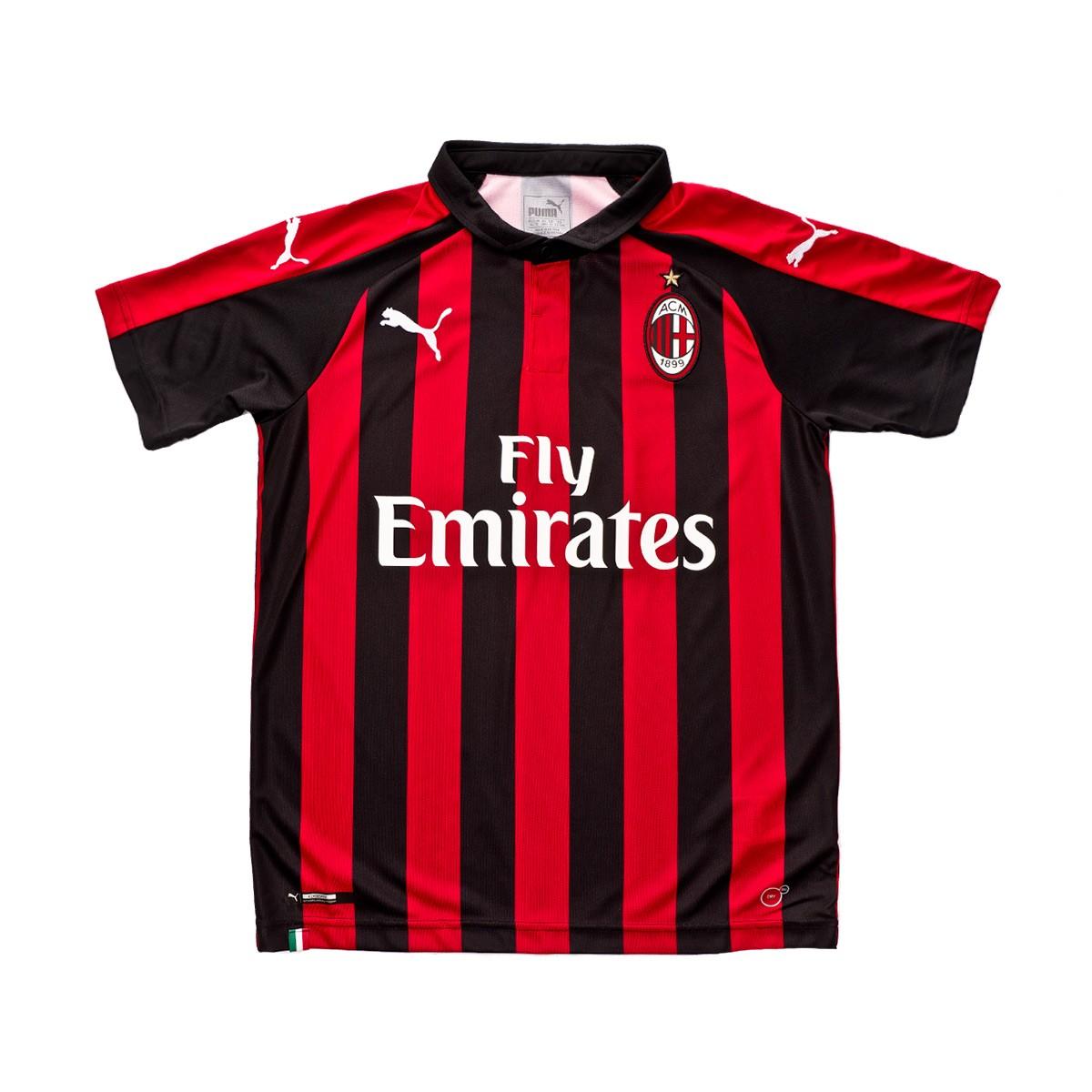online store b3b2c 1bac0 Camiseta AC Milan Primera Equipación 2018-2019 Niño Chili pepper-Puma black
