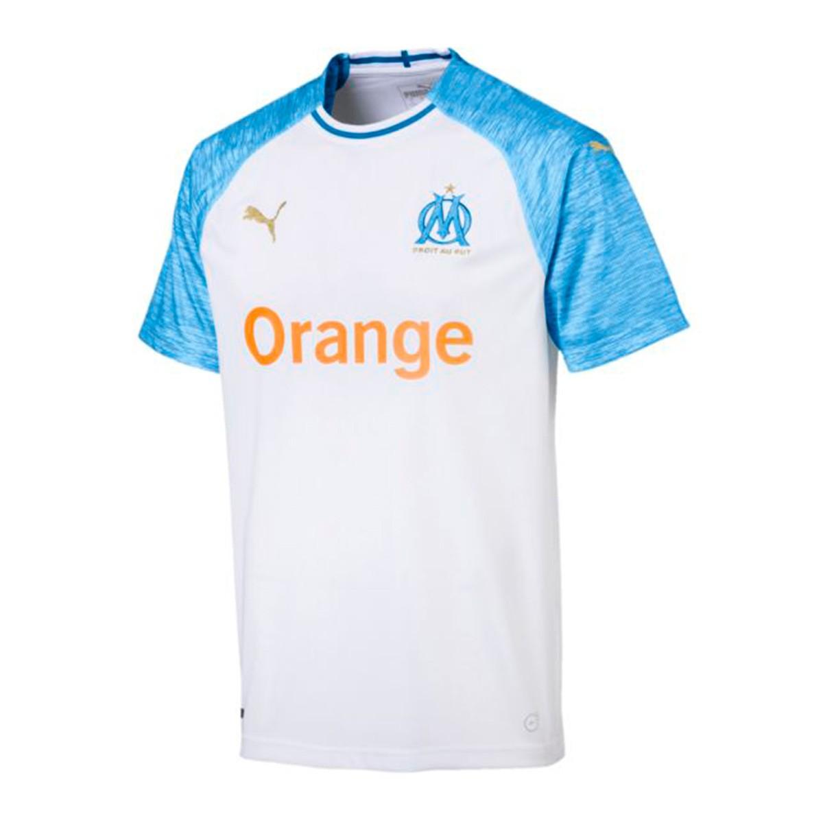 b5af74c12 Camiseta Puma Olympique de Marsella Primera Equipación 2018-2019 Puma  white-Bleu azur - Tienda de fútbol Fútbol Emotion
