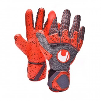 Glove  Uhlsport Aerored Supergrip Reflex Dark grey-Fluor red