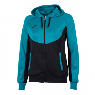 Jacket  Joma Woman Essential Hooded Black-Turquoise