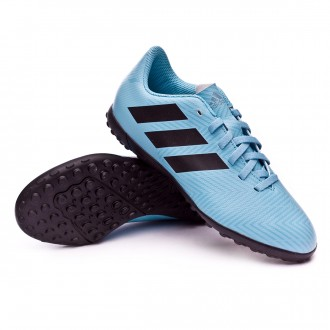 Chaussure de football  adidas Nemeziz Messi Tango 18.4 Turf enfant Ash blue-Core black-Raw grey