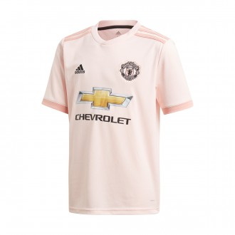 Maillot  adidas Manchester United FC Extérieur 2018-2019 enfant Icey pink-Trace pink-Black