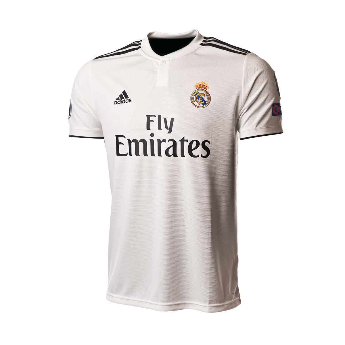 new product dbec1 d07c8 Camiseta Real Madrid UCL Primera Equipación 2018-2019 Core white-Black