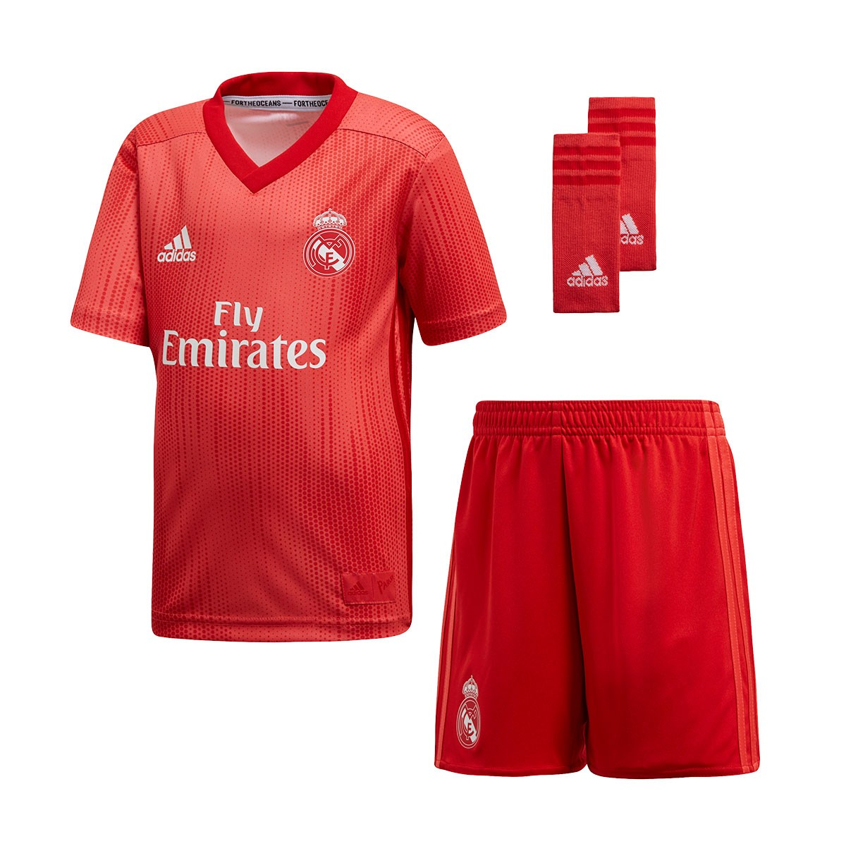 e5d15b5e49725 Kit adidas Kids Real Madrid 2018-2019 Third Real coral-Vivid red - Football  store Fútbol Emotion