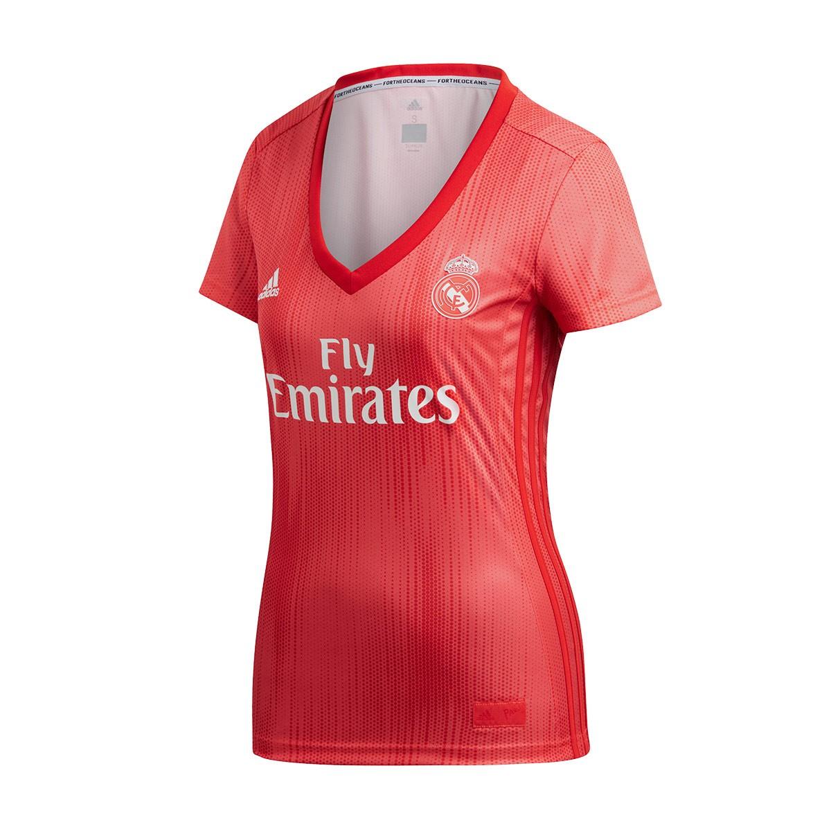 3de41705395 Camiseta adidas Real Madrid Tercera Equipación 2018-2019 Mujer Real  coral-Vivid red - Tienda de fútbol Fútbol Emotion