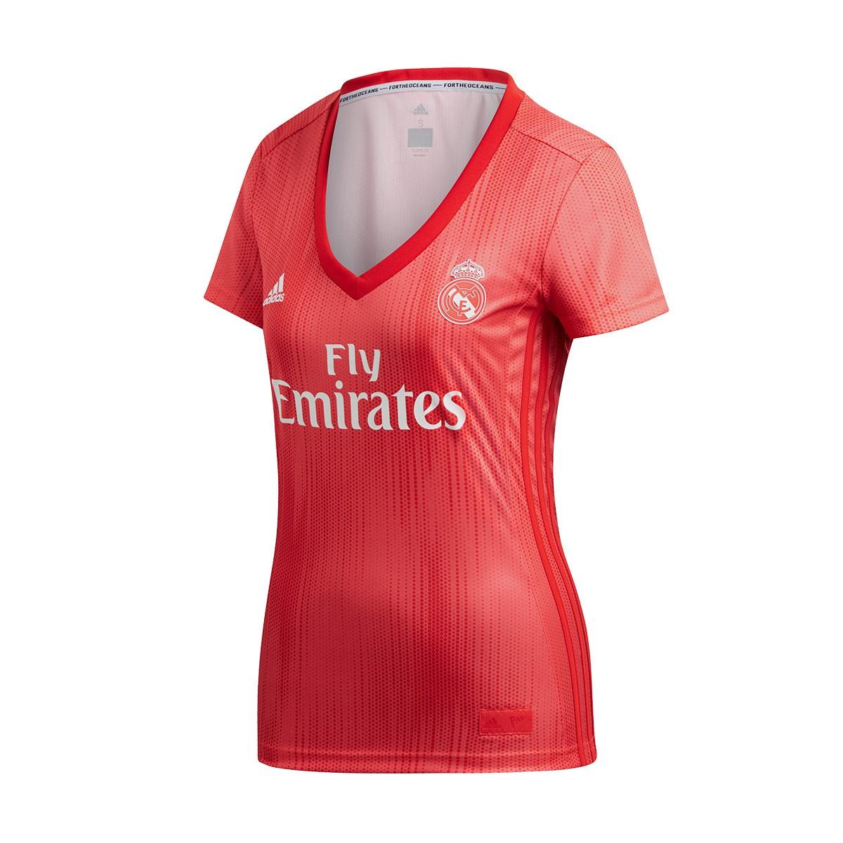 4e52222e06954 Camiseta adidas Real Madrid Tercera Equipación 2018-2019 Mujer Real  coral-Vivid red - Tienda de fútbol Fútbol Emotion