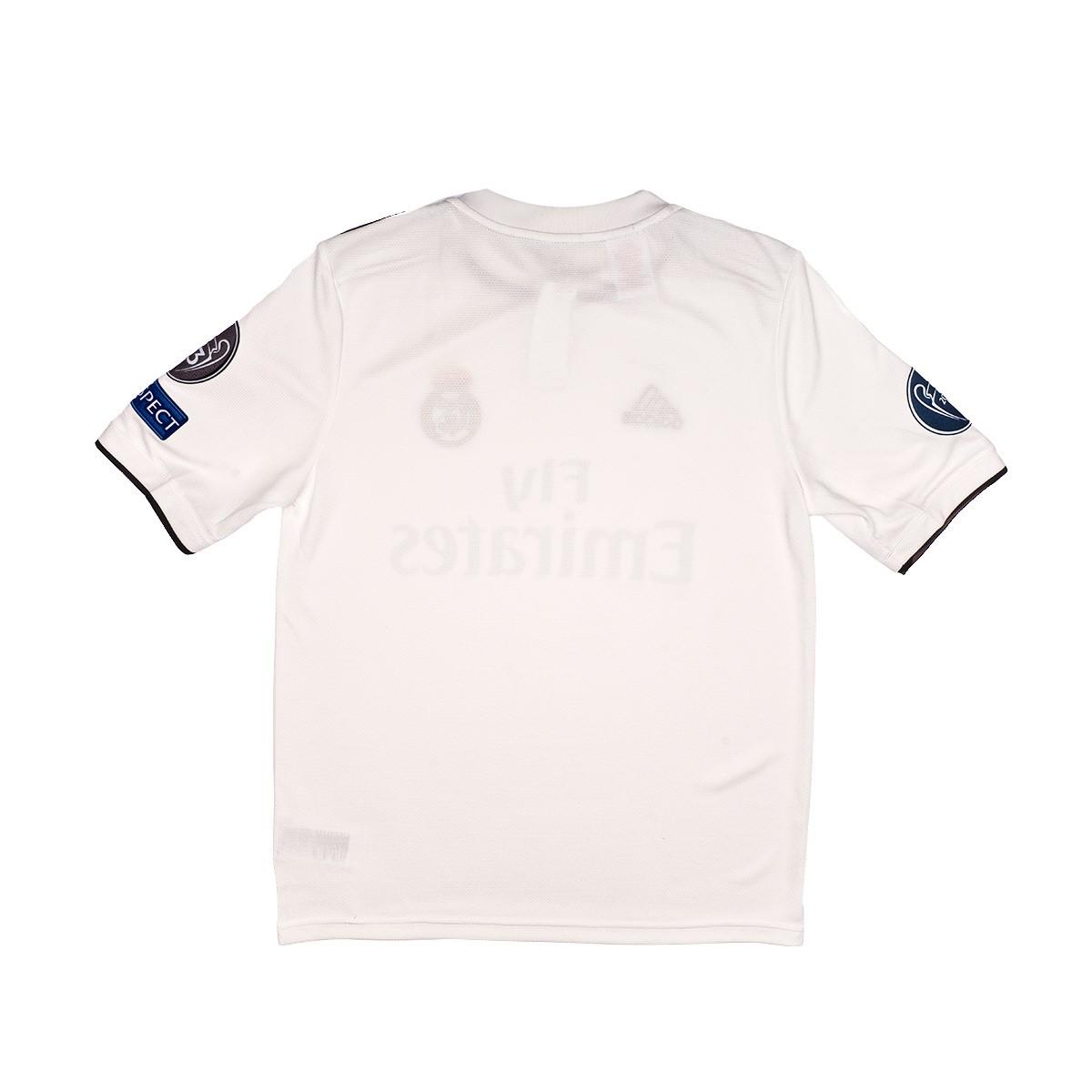 a4a480a1e6635 Camiseta adidas Real Madrid UCL Primera Equipación 2018-2019 Niño Core white -Black - Tienda de fútbol Fútbol Emotion