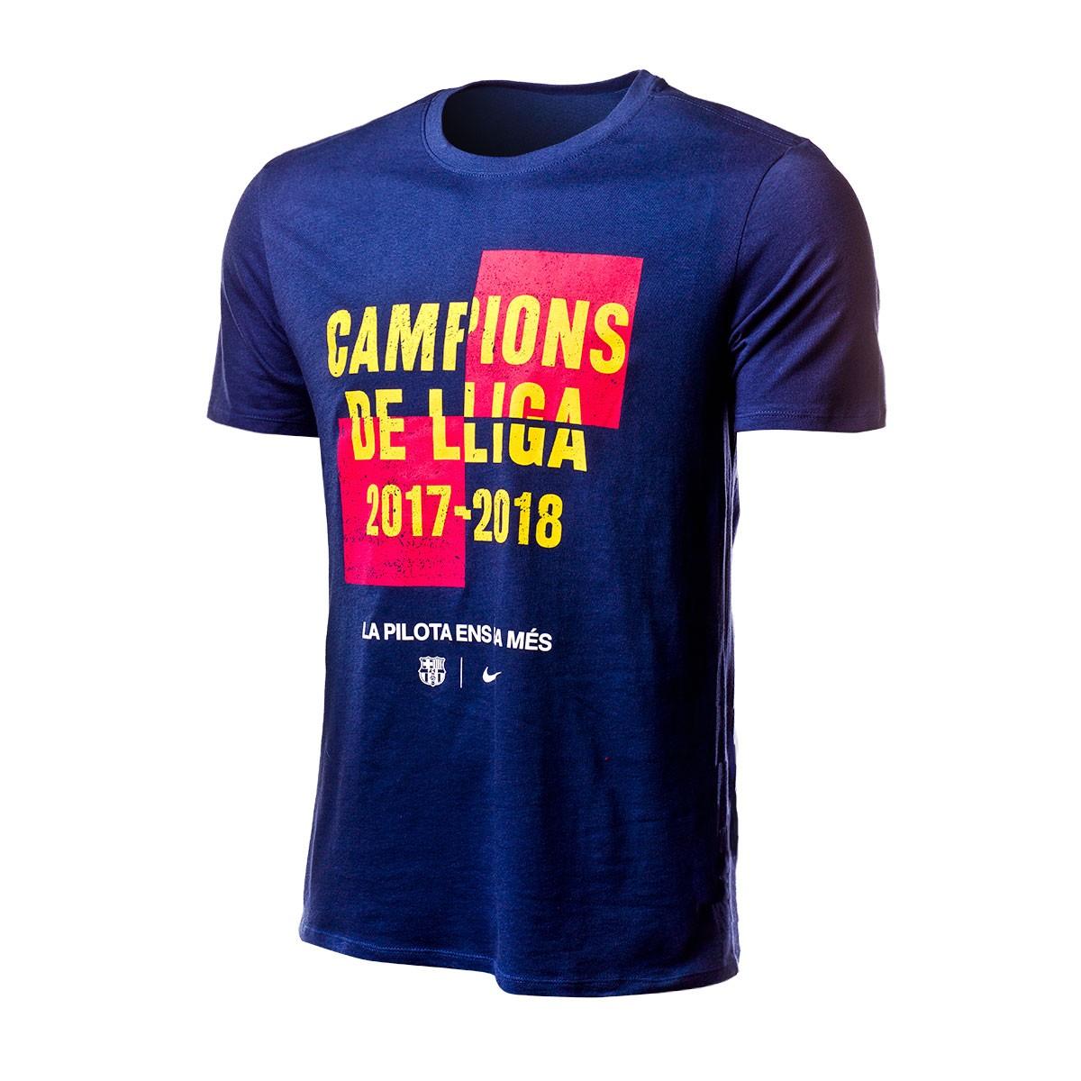 5ae16e96b2e46 Camiseta Nike FC Barcelona Campeón de Liga 2017-2018 Midnight navy - Tienda  de fútbol Fútbol Emotion