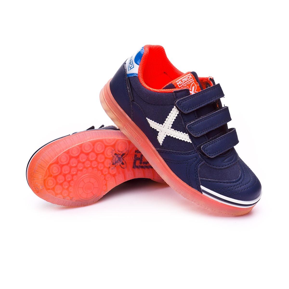c7eb479a98c Futsal Boot Munich Kids G3 Glow Velcro Navy blue-Orange - Tienda de ...