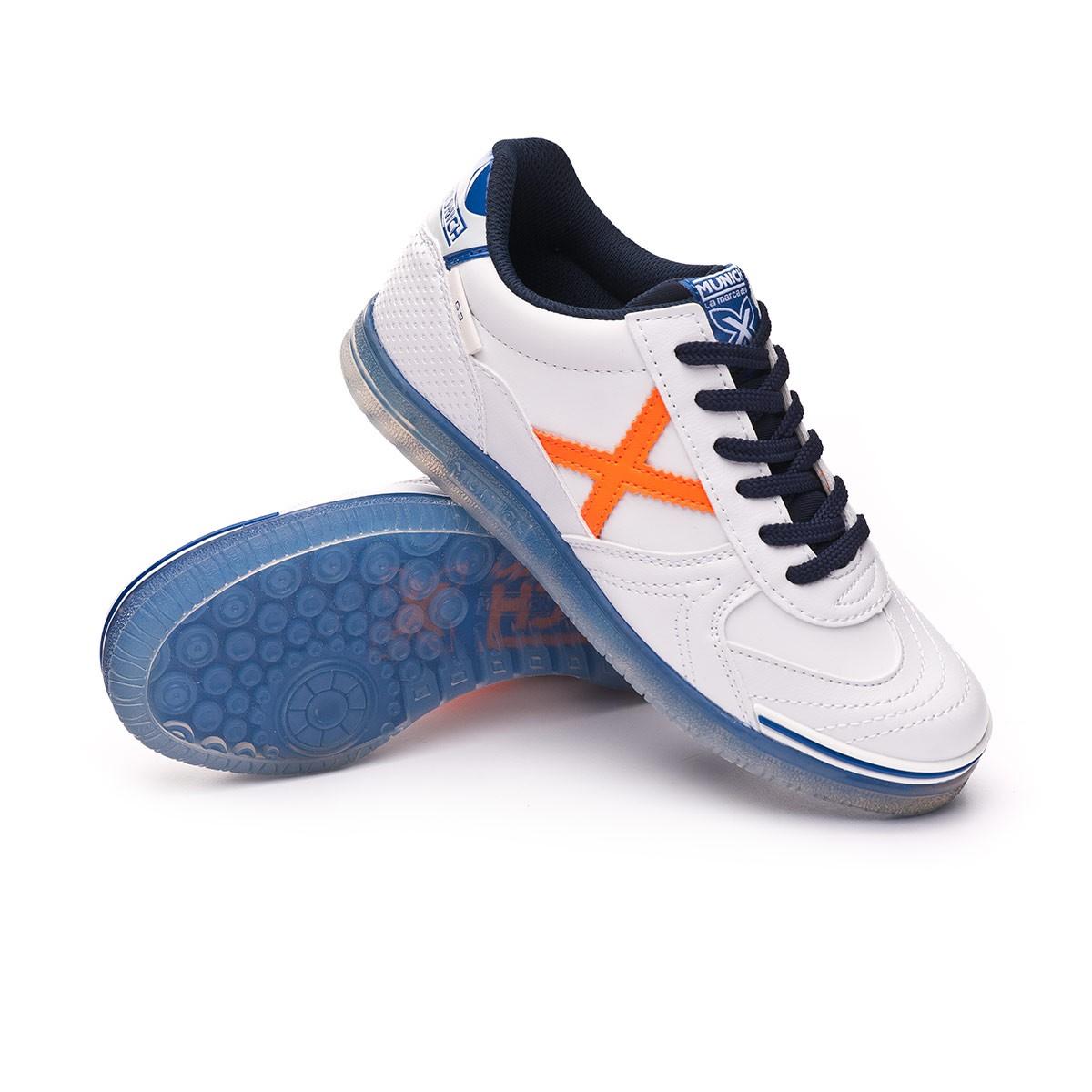 829da61303e Futsal Boot Munich Kids G3 Glow Blanca-Azul-Naranja - Tienda de ...