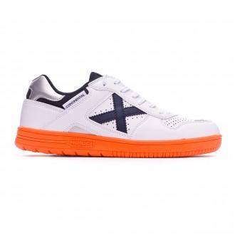 Chaussure de futsal Munich Continental V2 Blanc-Bleu marine-Orange