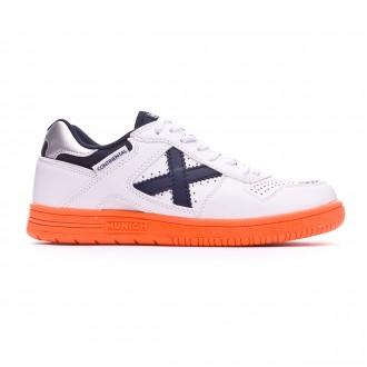 Chaussure de futsal Munich Continental V2 Niño Blanc-Bleu marine-Orange