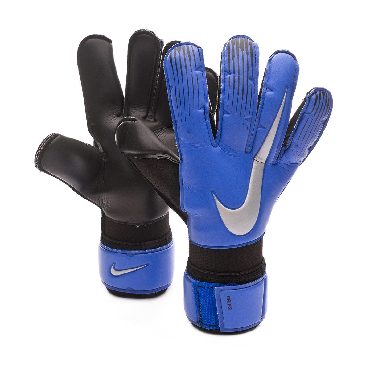 81833a3eb Glove Nike Grip 3 Racer blue-Black-Metallic silver - Football store Fútbol  Emotion