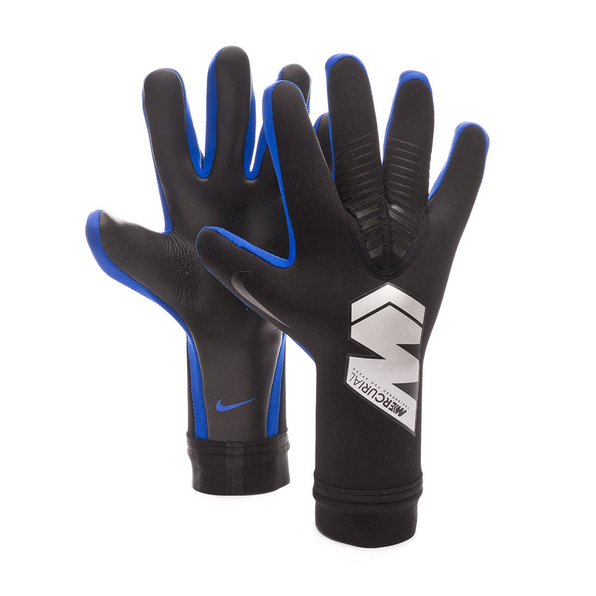 61cb32210f5d0 Glove Nike Mercurial Touch Victory Black-Metallic silver-Racer blue ...