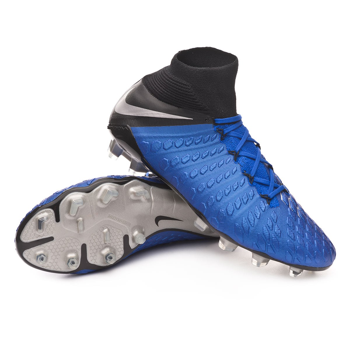 hot sale online a0fe3 5a5ed Bota Hypervenom Phantom III Elite DF FG Racer blue-Metallic  silver-Black-Volt
