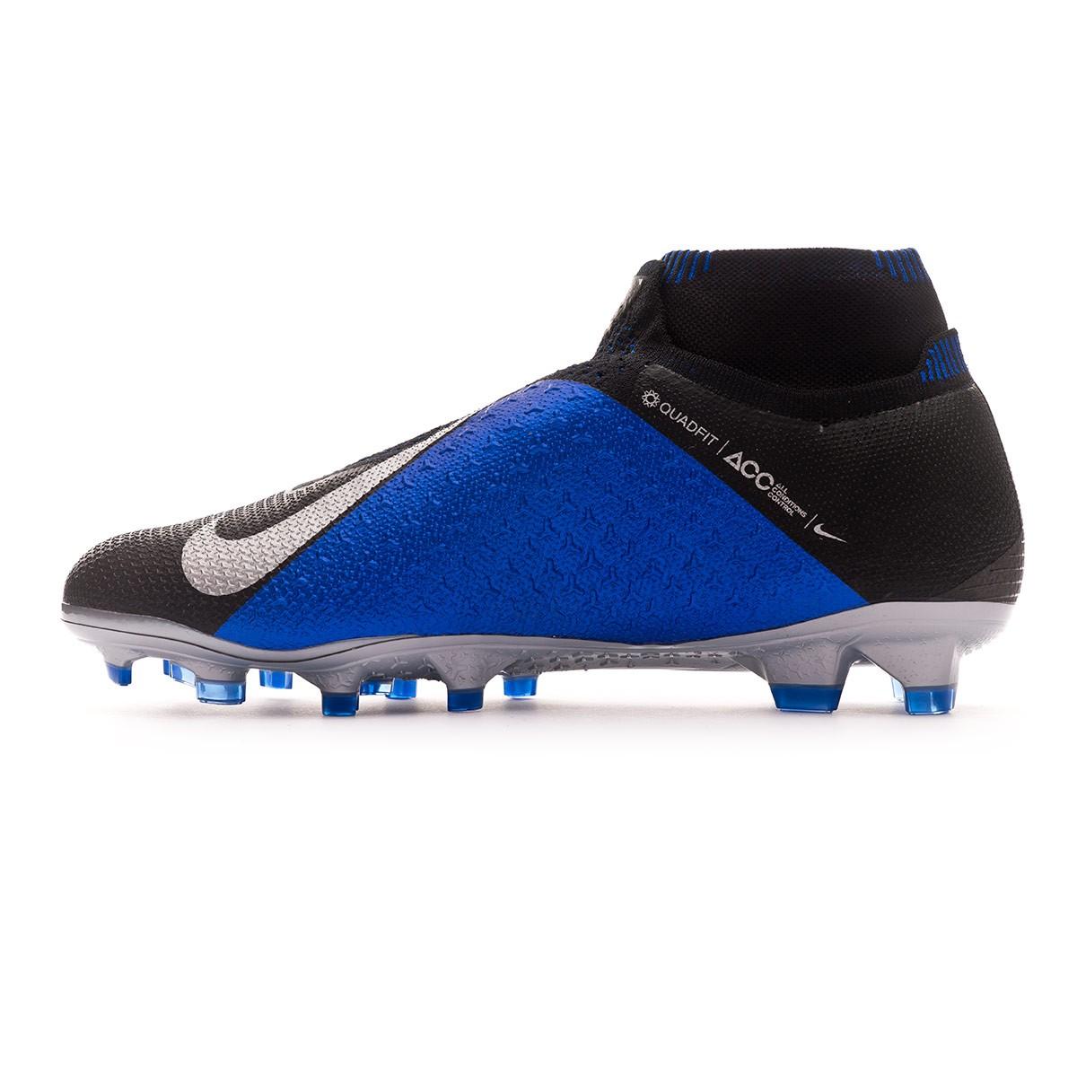 dd8db40db13 Football Boots Nike Phantom Vision Elite DF FG Black-Metallic silver-Racer  blue - Tienda de fútbol Fútbol Emotion