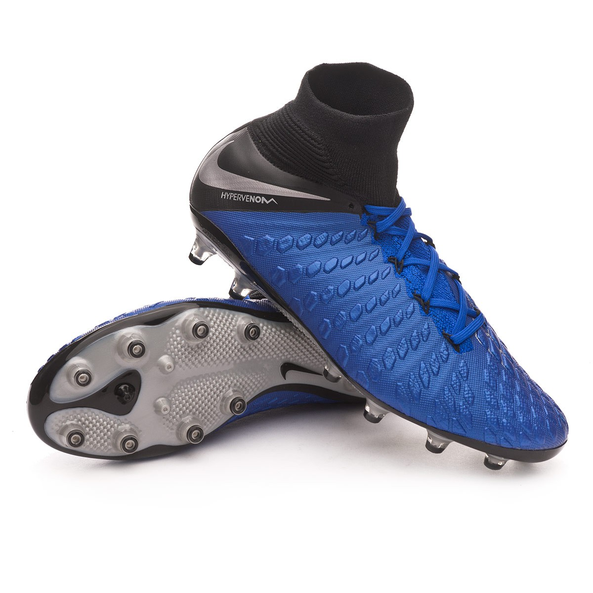 wholesale dealer af404 58644 Bota Hypervenom Phantom III Elite DF AG-Pro Racer blue-Metallic  silver-Black-Volt