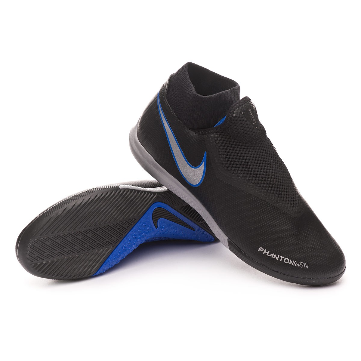 966c85b42b4 Nike Phantom Vision Academy DF IC Futsal Boot. Black-Metallic silver-Racer  blue ...