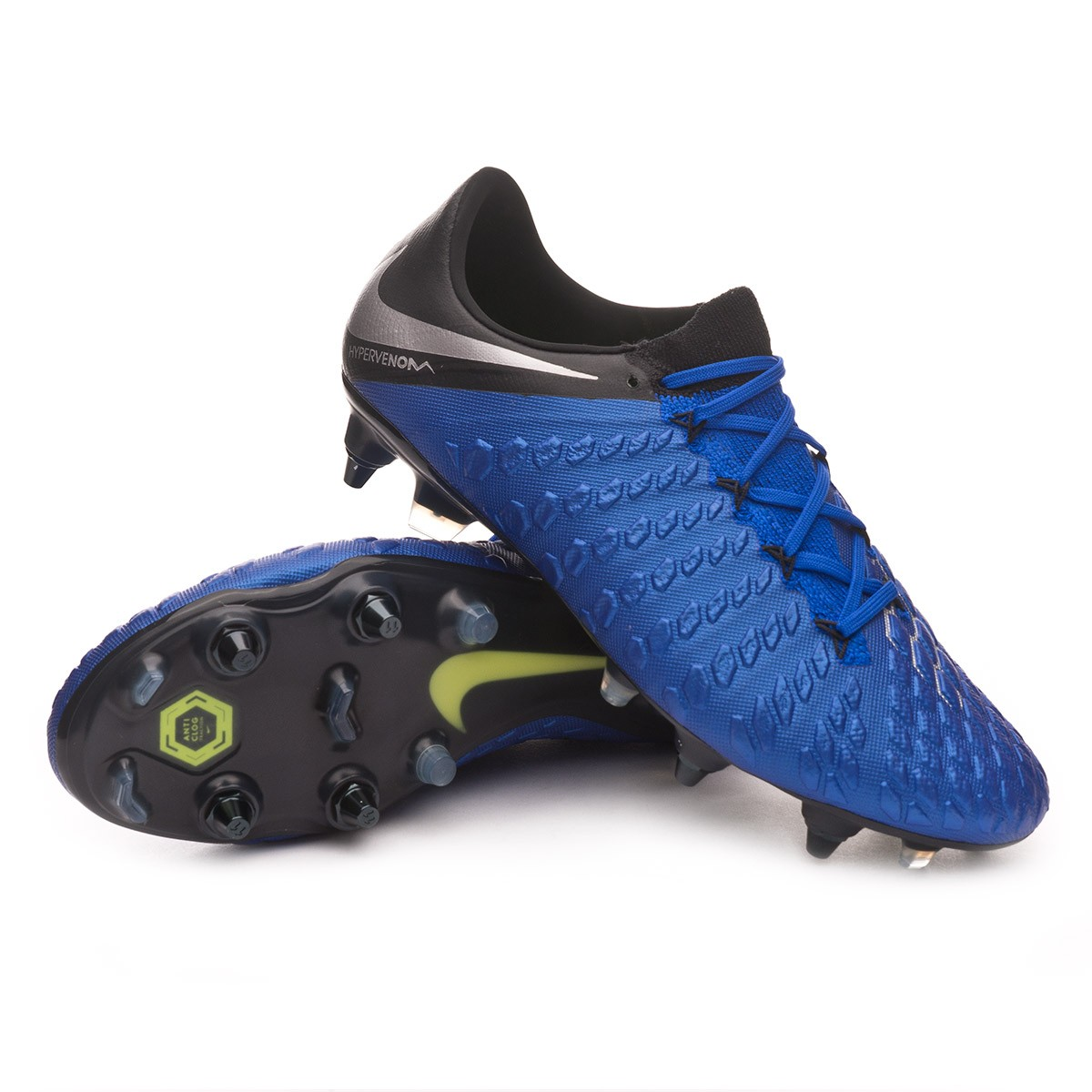 9aef7b89c42 Nike Hypervenom Phantom III Elite Anti-Clog SG-Pro Football Boots. Racer  blue-Metallic ...