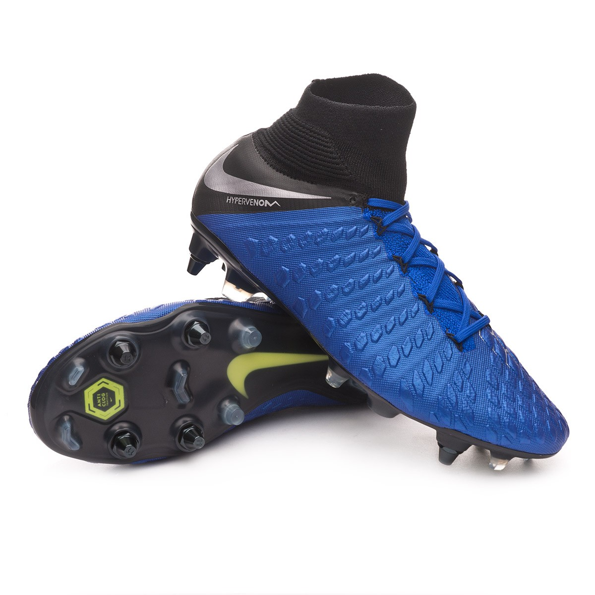 8599e1e3b Nike Hypervenom Phantom III Elite DF Anti-Clog SG-Pro Football Boots. Racer  blue-Metallic ...