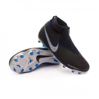 Bota  Nike Phantom Vision Elite DF FG/MG Niño Black-Metallic silver-Racer blue