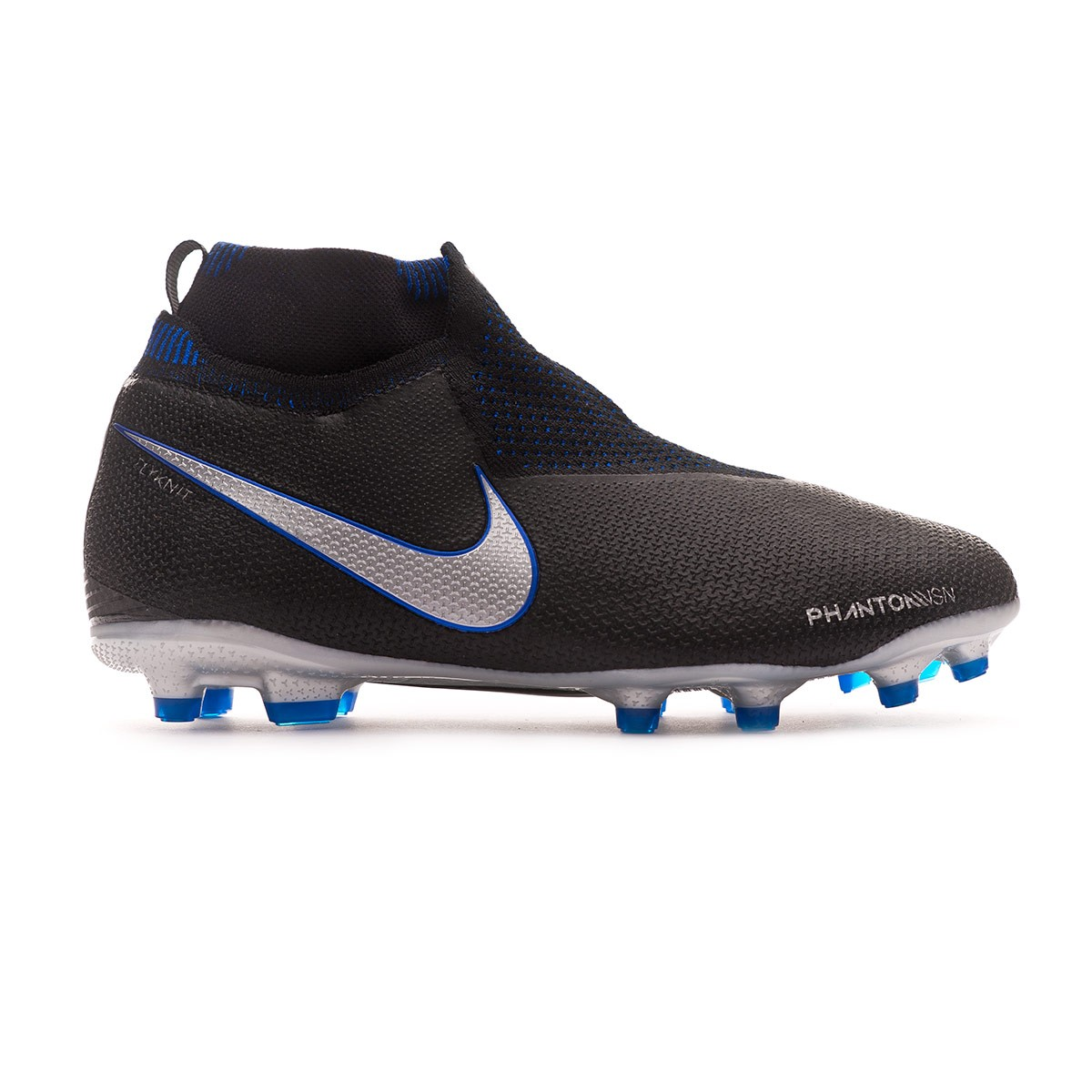 51e887ffa81 Football Boots Nike Kids Phantom Vision Elite DF FG MG Black-Metallic  silver-Racer blue - Football store Fútbol Emotion