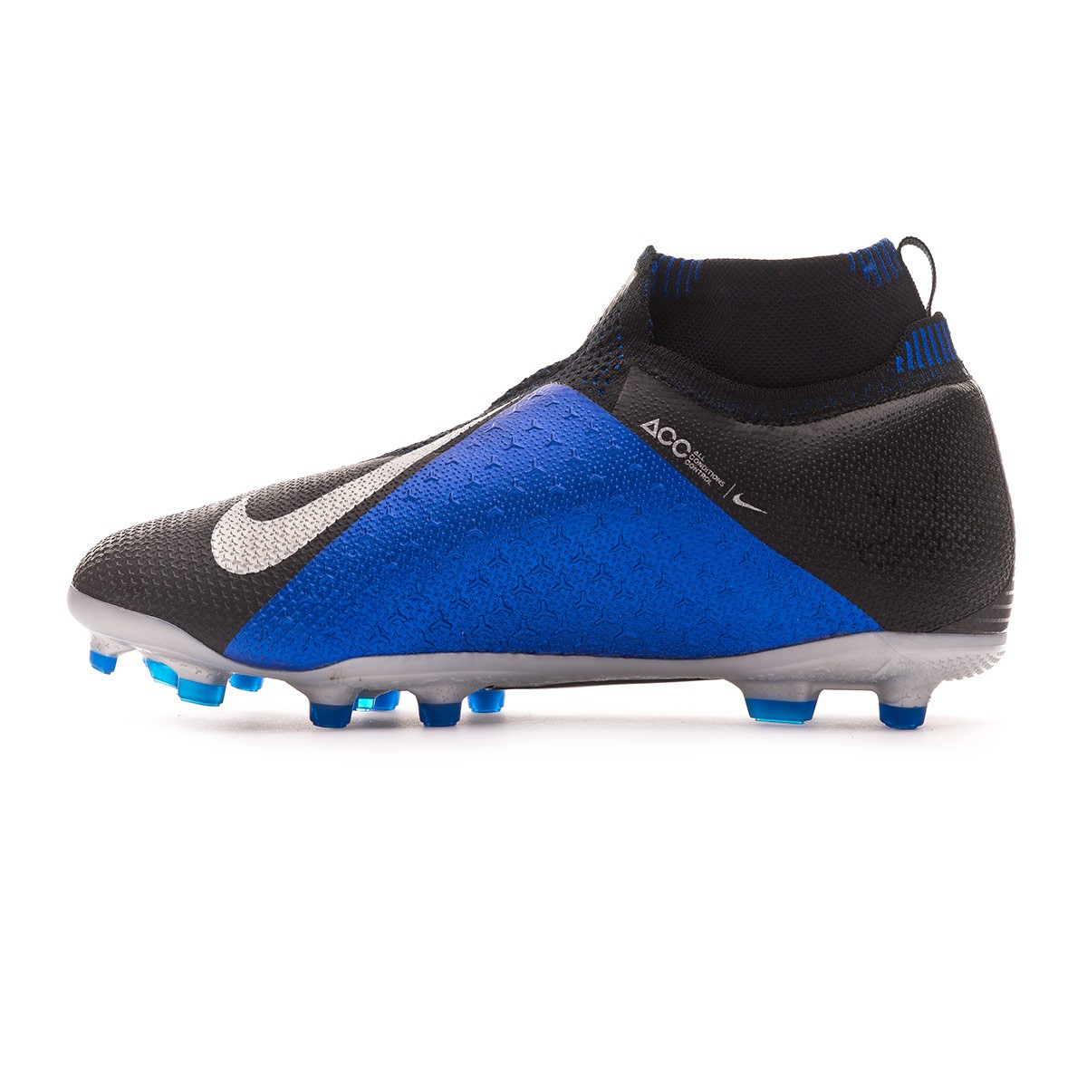 80fb02d72 Football Boots Nike Kids Phantom Vision Elite DF FG MG Black-Metallic  silver-Racer blue - Football store Fútbol Emotion