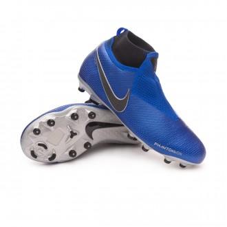 Boot  Nike Kids Phantom Vision Elite DF FG/MG  Racer blue-Black-Metallic silver-Volt