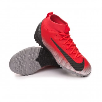 Football Boot  Nike Kids Mercurial SuperflyXVI Academy CR7 Turf Bright crimson-Black-Chrome-Dark grey