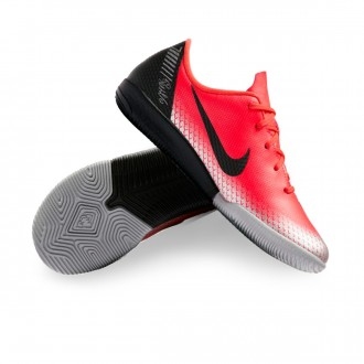 Futsal Boot  Nike Kids Mercurial VaporX XII Academy CR7 IC  Bright crimson-Black-Chrome-Dark grey