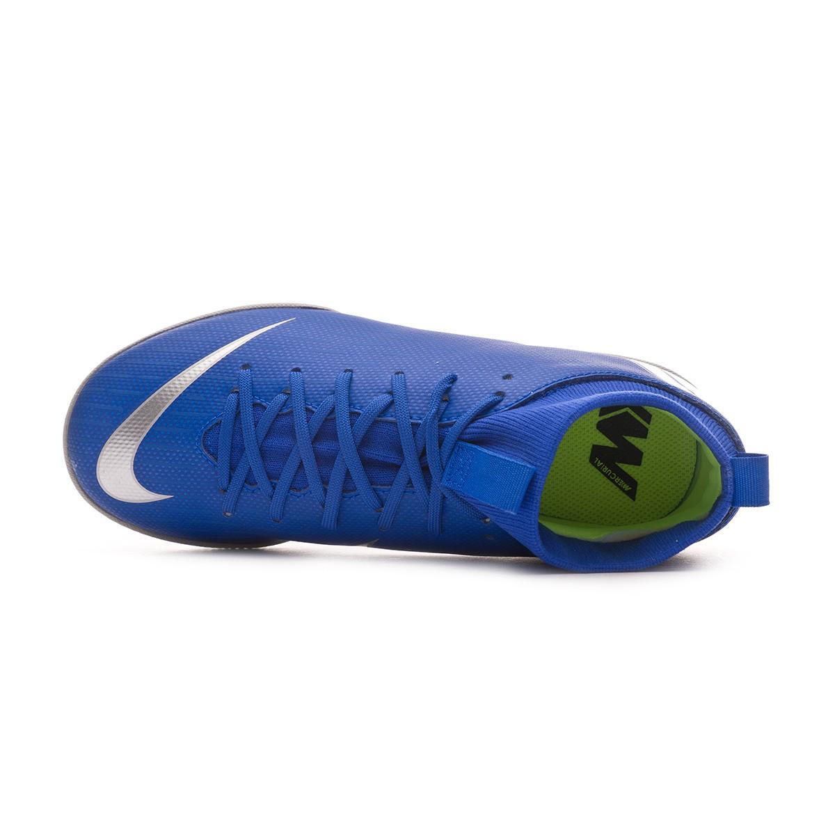 0dc319ec734b Futsal Boot Nike Kids Mercurial SuperflyX VI Academy IC Racer blue-Metallic  silver-Black-Volt - Football store Fútbol Emotion