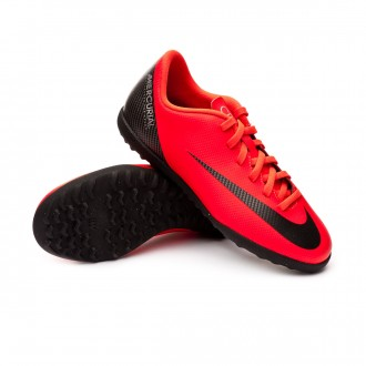 Chaussure de football  Nike Mercurial VaporX XII Club Turf enfant Bright crimson-Black-Chrome